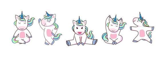 vetor de unicórnio kawaii. conjunto de pônei mágico com arco-íris colorido