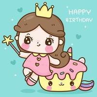 desenho de unicórnio de cupcake fofo e princesinha vetor