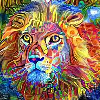 retrato abstrato do leão pintura geométrica abstrata vetor