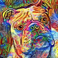 retrato abstrato de bulldog pintura artística geométrica vetor