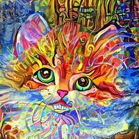 fofinho adorável impressionista pintura de retrato de gatinho fofo pateta vetor