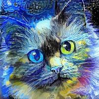 pintura de retrato de gato malhado impressionista estilo noite estrelada vetor