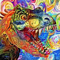 pintura de retratos em estilo artístico impressionista tiranossauro rex vetor