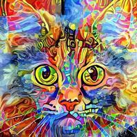 pintura artística adorável de gato malhado vetor