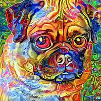 pintura artística adorável cão pug fofo vetor