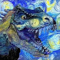 pintura de retratos impressionista de tiranossauro rex em estilo noite estrelada vetor