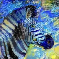 pintura de retrato de zebra impressionista em estilo noite estrelada vetor