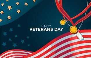 feliz dia dos veteranos fundo com bandeira e medalhas vetor