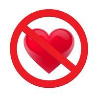 Ban amor coração. Símbolo do proibido e pare de amar vetor