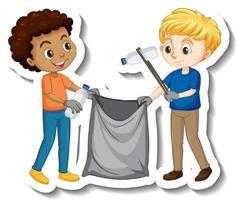 Adesivo de dois meninos pegando ninhadas de personagem de desenho animado vetor