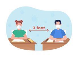 lição escolar distanciando ilustração vetorial 2d vetor