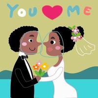 noiva e noivo africanos em vetor de desenho animado de casamento de praia cobiçoso