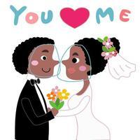 noiva e noivo usando protetores faciais em seu casamento em desenho animado vetor