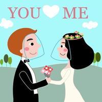 noiva e noivo em casamento ao ar livre amor em desenho animado desenhado de mão cobiçosa vetor