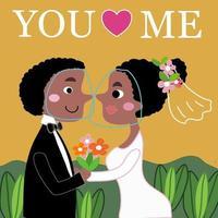 Noivos africanos amam em desenhos animados de casamento cobiçosos no jardim vetor