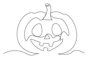 desenho de linha contínua de abóbora de halloween. ilustração vetorial vetor