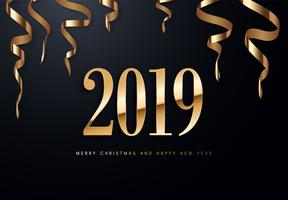 Ilustração do cumprimento de 2019 Holiday Vector com números dourados.