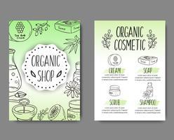 Brochura com frascos de cosméticos. Ilustração de cosméticos orgânicos. vetor