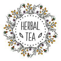 Fundo de etiquetas de chá de ervas. Quadro redondo com ervas vetor