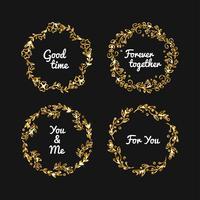 Quadro de glitter dourados de vetor. Ilustração de quadros de ouro vintage.