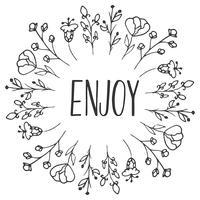 Quadro Herbal Aprecie. Ervas orgânicas e flores silvestres. Ilustração de mão esboçada. vetor
