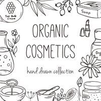 Fundo com frascos de cosméticos. Ilustração de cosméticos orgânicos. vetor