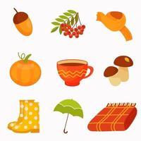 outono conjunto de elementos em um estilo simples. vetor