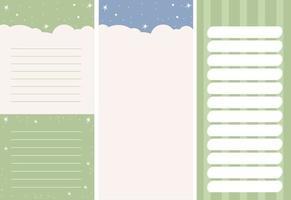 conjunto de modelos verticais - planejador, organizador, lista de tarefas, notas vetor