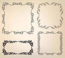 conjunto de elementos de decoração de página. moldura decorativa linha floral borda vinheta vetor