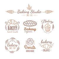 Elementos de logotipo de padaria. vetor