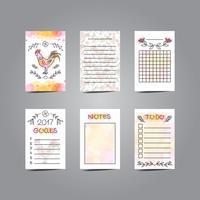 Cartões de registro no diário imprimíveis com ilustração do galo. Estilo de linha vetor