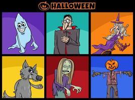 conjunto de personagens de desenhos animados engraçados do feriado do dia das bruxas vetor