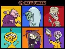 Conjunto de personagens engraçados e assustadores de desenhos animados vetor