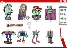 combine metades de imagens com o jogo educacional de zumbis em quadrinhos vetor