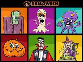 Conjunto de personagens assustadores dos desenhos animados do feriado do dia das bruxas vetor