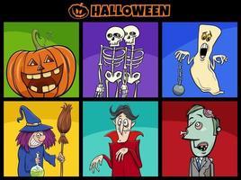 conjunto de personagens engraçados dos desenhos animados do feriado do dia das bruxas vetor