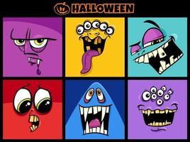 Conjunto de personagens de monstros de desenhos animados de feriado de halloween vetor