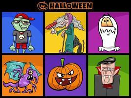 Halloween feriado cartoon conjunto de personagens assustadores vetor