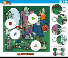jogo de combinar peças para crianças com personagens zumbis de desenho animado vetor
