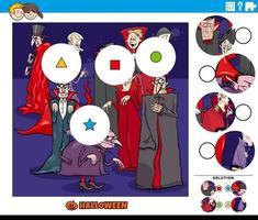 jogo de combinar peças para crianças com personagens de desenhos animados vampiros vetor