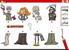 combinar metades de imagens com personagens de halloween vetor