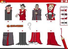 combine metades de imagens com o jogo educacional de vampiros em quadrinhos vetor