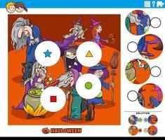 jogo de combinar peças para crianças com personagens de desenhos animados bruxas vetor