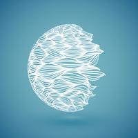 Mão abstrata branca desenhada globo, ilustração vetorial