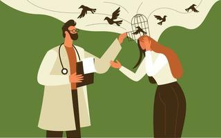 médico dando suporte mental para vetor de conceito de ilustração de paciente