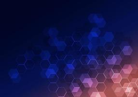 abstrato tecnologia digital hexágono geométrico padrão fundo azul vetor