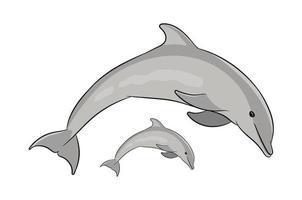 desenho de mascote de peixe golfinho pulando vetor