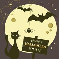 banner feliz noite de halloween com lua, morcegos, teia e gato preto mágico vetor
