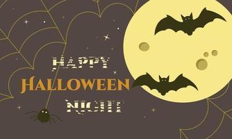 poster feliz noite de halloween com lua, morcegos e teia de aranha vetor
