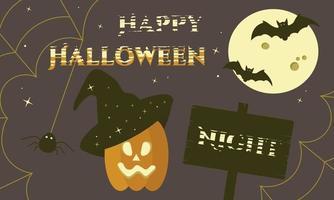 banner feliz noite de halloween com lua, morcegos, teia de aranha e abóbora vetor